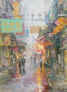 John Michael Carter(b. 1950)  Macau Street,Oil on linen,24 x 18 inches