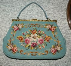 Antique Blue Floral Needlepoint Leather Tapestry Handbag