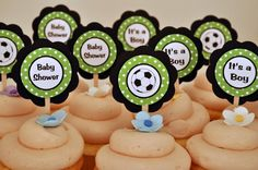 Items similar to Soccer Theme Cupcake Toppers - Soccer Birthday Party Decorations in Green & Black on Etsy Soccer Birthday Parties, Baby Boy Birthday, Soccer Party, Birthday Party Decorations, 8th Birthday, Party Themes, Birthday Ideas, Happy Birthday, Baby Shower Cupcakes