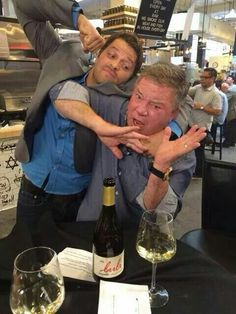 """Misha Collins with William Shatner Facebook post with the caption  """"I don't usually get in fights with strangers, but this guy was asking for it."""" Love it! Both men are such good sports!"""