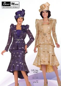 Ben Marc 47507 Womens Church Suit - This 3piece Ben Marc Women's Organza Church Suit features a 31-inch jacket and a high-low skirt with a 30-inch front and 36-inch back. You will look and feel fabulous in this outfit, in either the gold or the purple color, especially while wearing the specially designed matching hat! Sizes offered are 8-24. For work, for church, synagogue, temple, business meeting, or social event, this Ben Marc Women's Church Suit is appropriate any time. Hat sold…