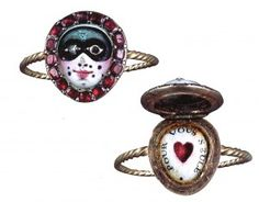 An eighteenth-century French diamond and ruby carnival mask ring, from the Rosebery Collection, which opens to show a love heart and the legend 'pour vous seule'/'for you alone'.