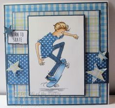 Masculine handmade card Welcome to Cats Whiskers: LOTV Oliver Skateboard - Paper crafts/lettering/transfers - Enschulung Birthday Cards For Boys, Masculine Birthday Cards, Masculine Cards, Happy Birthday Cards, Boy Cards, Kids Cards, Square Card, Card Sketches, Copics