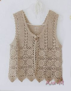 Crochet drops waistcoat with fan pattern in cotton viscose size free crochet pattern crochet sleeveless shirts cant understand patter strange language but the diagrams are clear dt1010fo