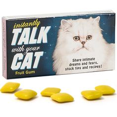 Instantly Talk With Your Cat Gum and more Quirky Gift Ideas at Perpetual Kid. Just once piece of our Instantly Talk With Your Cat Gum unlocks the dialogue betwe