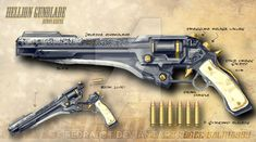 The Lotus Revolver started as a german wheellock pistol (probably dating back to the century) that found its way to Japan in the hands of a firearm. The Lotus Revolver Anime Weapons, Sci Fi Weapons, Weapon Concept Art, Weapons Guns, Guns And Ammo, Armes Futures, Steampunk Weapons, Mega Pokemon, Future Weapons