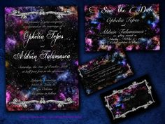 Embellished Galaxy Nebula Space Themed Wedding Invitation Save The Date Rsvp And Thank You Digital File Kit Printable