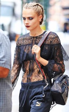 Cara Delevingne from Celeb Braids You'll Want to Copy For a tough-chic look that feels modern, simply tuck the ends of your braids under the finished style. Short Hair Outfits, Cool Outfits, Cara Delevingne, Look Fashion, Urban Fashion, Natural Hair Styles, Short Hair Styles, Moda Fitness, Prom Hair