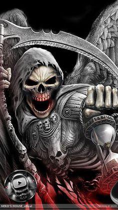 Death Devil Blood Skull Theme has the devil demon death reaper with dark blood style and the dark metallic skull icon pa Grim Reaper Art, Grim Reaper Tattoo, Dark Fantasy Art, Dark Art, Skull Wallpaper Iphone, Art Sombre, Kopf Tattoo, Blood Wallpaper, Tattoo Ideas