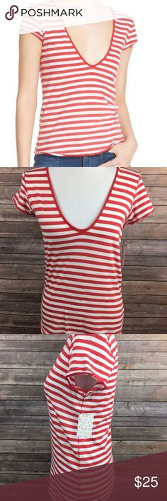 Free People Striped Avery Tee Medium We The Free By Free People Women's Red White Striped Avery Striped Tee Medium NEW Bust is about 16.5 in. Length is about 24.5 in.  SKU-1082 Free People Tops Tees - Short Sleeve