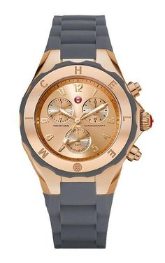 c44b73510fd05 MICHELE Tahitian Jelly Bean Gray Silicone Rose Gold 40mm Watch MWW12F000045