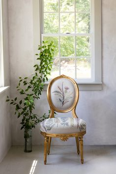 Coral U0026 Tusk   Embroidered Plant Border Fabric Upholstered Gold Chair