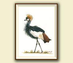 PRINT- Golden crown crane bird - african bird art - crane pink bird painting - bird nursery art - birds decal- Art Print by Juan Bosco by SanMartinArtsCrafts on Etsy