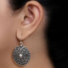Handcrafted Round Silver Earrings