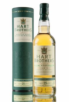 A cask strength Highland Park 25 year old from Hart Brothers. Bottled for their 'Finest Collection', this Island single malt Scotch whisky was distilled in 1990 and left to mature until 2015, where it was bottled straight from cask at 47.5% vol.