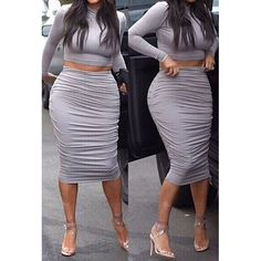 Sexy Turtle Neck Long Sleeve Solid Color Crop Top + Ruffled Skirt Women's Twinset