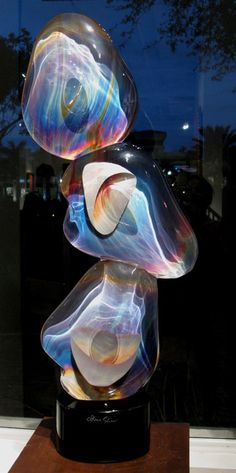 """Triple Sassi"" by Dino Rosin Clear & Calcedonia Glass Sculpture"