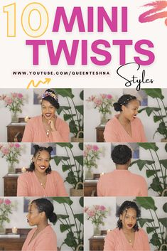 Easy Tutorial on How to style mini twists on medium length Natural Hair. Mini twists are a great protective style because they are so versatile and keeps your hair moisturised. Styling ideas for mini twists are endless. #howtostyleminitwists #minitwists #minitwistsstyles #naturalhairminitwists Natural Hair Tutorials, Natural Hair Care Tips, How To Grow Natural Hair, Long Natural Hair, Natural Hair Styles For Black Women, Curly Hair Tips, Curly Hair Styles, Cute Natural Hairstyles, Protective Hairstyles For Natural Hair