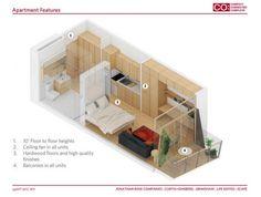 這條微公寓展示了較高的設計隨著智能思維狹小空間,如10'樓地板高度,硬木地板,高品質的完成,以及迷人的陽台。
