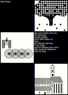 Otl Aicher, travel poster for Isny, Motiv: Das Land, The Country Otl Aicher, Poster Ads, Modernism, Graphic Designers, Graphic Design Inspiration, Travel Posters, 1980s, Artworks, Students