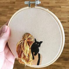 Flowing Hair Beneath The Stars - Hand Embroidery, Hoop Art, Contemporary Embroidered Hoop Wall Art, Hand Embroidery Stitches, Embroidery Hoop Art, Hand Embroidery Designs, Cross Stitch Embroidery, Creative Embroidery, Embroidery Fashion, Contemporary Embroidery, Fabric Art, Needlework