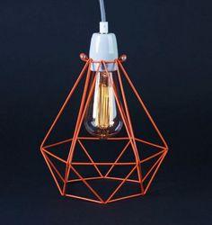 Lampada a sospensione / lampada da tavolo in metallo ORANGE CAGE GREY FABRIC WIRE - FILAMENTSTYLE