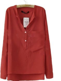Red Collarless Dipped Hem Long Sleeve Blouse with Front Pocket