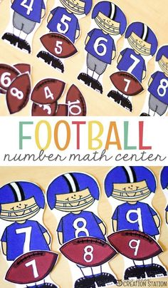 Most boys love football . some girls do too! They will enjoy working with this football number math center. Use them for number recognition, number matching and number order. Come grab this free printable and get started with your students today! Math Activities For Kids, Math Resources, Math Games, Counting Games, Homeschooling Resources, Sports Activities, Classroom Resources, Kindergarten Math, Teaching Math