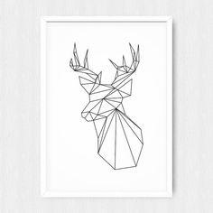 Geometric Deer, Black Deer, Geometric Animal, Origami Print, Low Poly, White Geometric, Wall Print, Wall Decor, Digital, Printable, Download