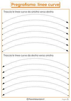 Schede di Pregrafismo di Percorsi con Linee Rette e Curve | PianetaBambini.it Tracing Worksheets, Preschool Worksheets, Writing Activities, Activities For Kids, Tracing Sheets, Pre Writing, Kindergarten, Teaching, Montessori
