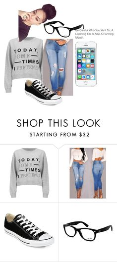 """""""Honey Cocaine-Can't sit with us"""" by qveencsenyaa on Polyvore featuring Cheap Monday, Converse and Ray-Ban"""