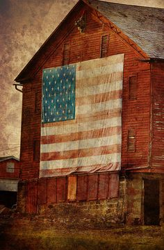 ~love old barns~country red barn flag~