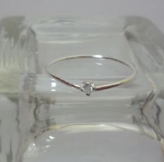Skinny 2mm Diamond Sterling Silver Stacking Ring, $75