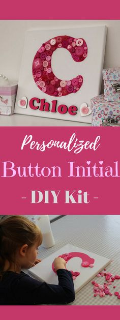 Really cute personalized button initial and name canvas craft kit. Kids 'make your own' button canvas craft kit #ad #gift #craft #art #kids #baby #decor #buttons #chloe #nursery #kidsroom