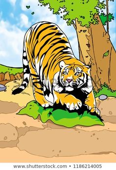 Mammals Animal Illustration with smooth graphics and full coloring. So that the illustration of this Tiger animals will be interesting when used as an image of supporting material, or to be seen. African Image, Pet Tiger, Mammals, Royalty Free Stock Photos, Coloring, Smooth, Graphics, Animal, Illustration
