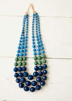 Blue and Green Beaded Necklace #bellaellaboutique