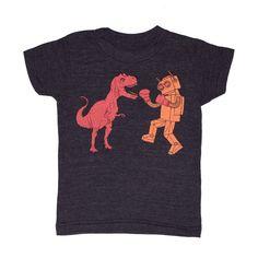 @Stephanie Cole This is like HGB's dream come true!  KIDS TODDLER / Dinosaur vs Robot - Tshirt Awesome Dino Funny Cool Retro T-shirt Boy Girl Youth Children Tri Black Tee Shirt