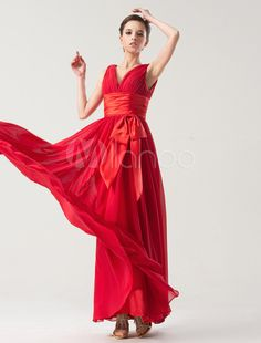 Red V-Neck A-line Sash Chiffon Charming Prom Dress - Get unbeatable discounts up to 70% Off at Milanoo using Coupon & Promo Codes