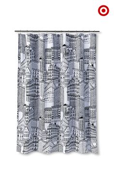 A shower curtain will set the tone for your entire bathroom, and our cityscape curtain's black-and-white palette makes it extra modern and cool. Plus, the pattern is hand drawn by one of Target's in-house designers—a true exclusive!