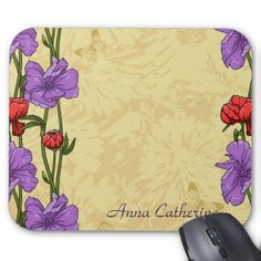 Pretty Retro Red and Purple Flowers Mousepad Mouse Pad