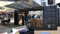 A view of the bar in the shipping container that will open at the Gaithersburg Marriott this summer.
