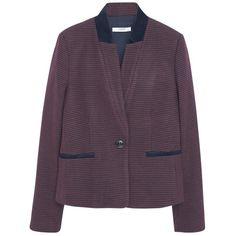 Mango Houndstooth Wool Blazer, Dark Red (6.820 RUB) ❤ liked on Polyvore featuring outerwear, jackets, blazers, patterned blazer, formal jacket, purple jacket, houndstooth blazer and mango jacket