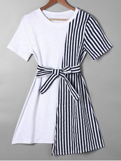Striped Asymmetrical Mini Tee Dress - Blue - Blue S Teen Fashion Outfits, Look Fashion, Trendy Outfits, Korean Fashion, Fashion Dresses, Cute Outfits, Fashion Design, Trendy Fashion, Fashion Clothes