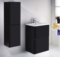 ALASKA 600mm Freestanding Black Gloss Basin Vanity Unit + Side Cabinet