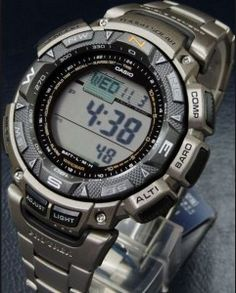A legend among modern military watches, the Casio Pathfinder features a titanium band with a unique double push button for a secure fit.