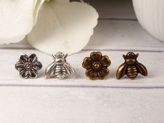 Flower and Bee Mismatched Stud Earrings, Silver Plated or Antiqued Brass with Surgical Steel Posts