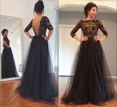 Custom Made Charming Black Prom Dress,Lace See Through Evening Dress,Long Sleeves Party Dress,Backless dress
