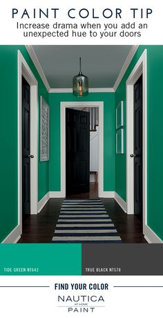 Paint Color Tip | Create an element of interest in bland hallways by incorporating a bold paint color on your doors. Adding an unexpected hue, like a dark brown or black paint color, to an otherwise neutral space will increase drama.