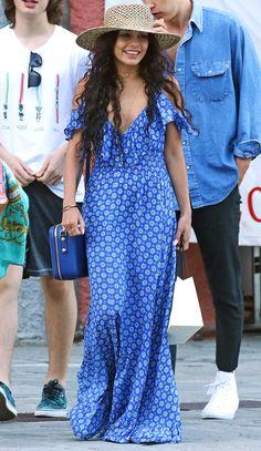 Vanessa Hudgens in a Misa blue off-the-shoulder maxi dress - click ahead for 10 more cute summer dresses!