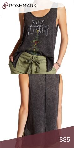 """Free People Ruby Tank - Scoop neck - Sleeveless - Front graphic print - Split hi-lo hem - Approx. 26.5"""" shortest length, 27.5"""" longest length (size S) - Imported Free People Tops Tank Tops"""